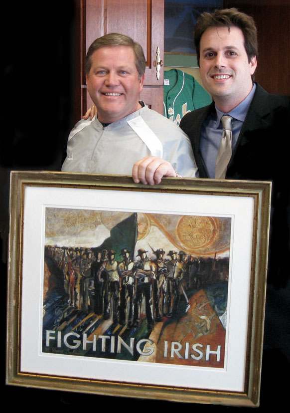 (Brian Kelly and Revere La Noue) Prints of  The Original Fighting Irish Pride and Courage  by artist and Notre Dame alum Revere La Noue have have shipped to homes, dorms, offices, and fan caves in over 40 of the United States.