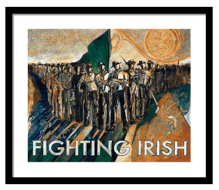 Prints of  The Original Fighting Irish Pride and Courage  by artist and Notre Dame alum Revere La Noue have have shipped to homes, dorms, offices, and fan caves in over 40 of the United States.