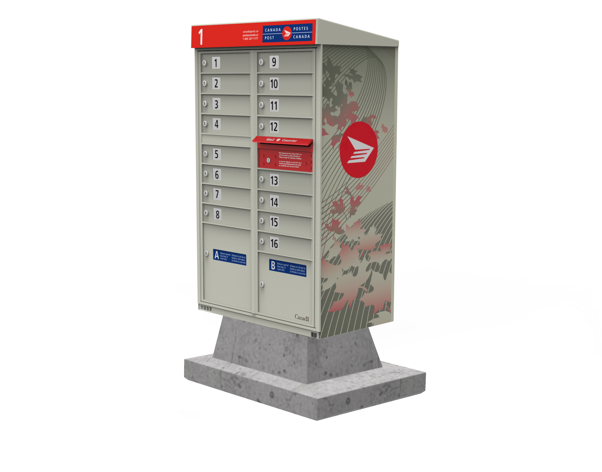 At Canada Post, the door-to-door delivery program was transitioning to a community mailbox (CMB) based delivery mode. New bases were needed when concrete pads weren't appropriate (e.g. if it was in a parking lot, or a temporary installation).