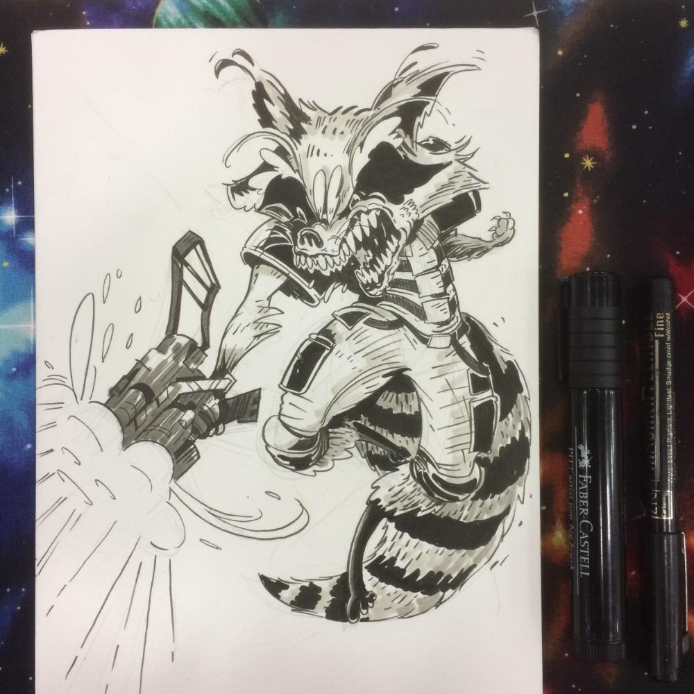 A horrifying Rocket Raccoon