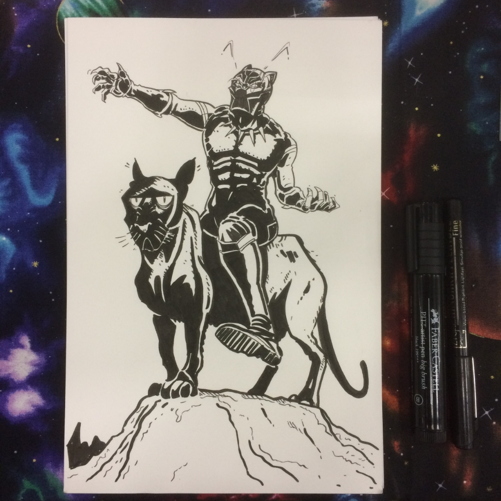Black Panther on a panther. Why not?