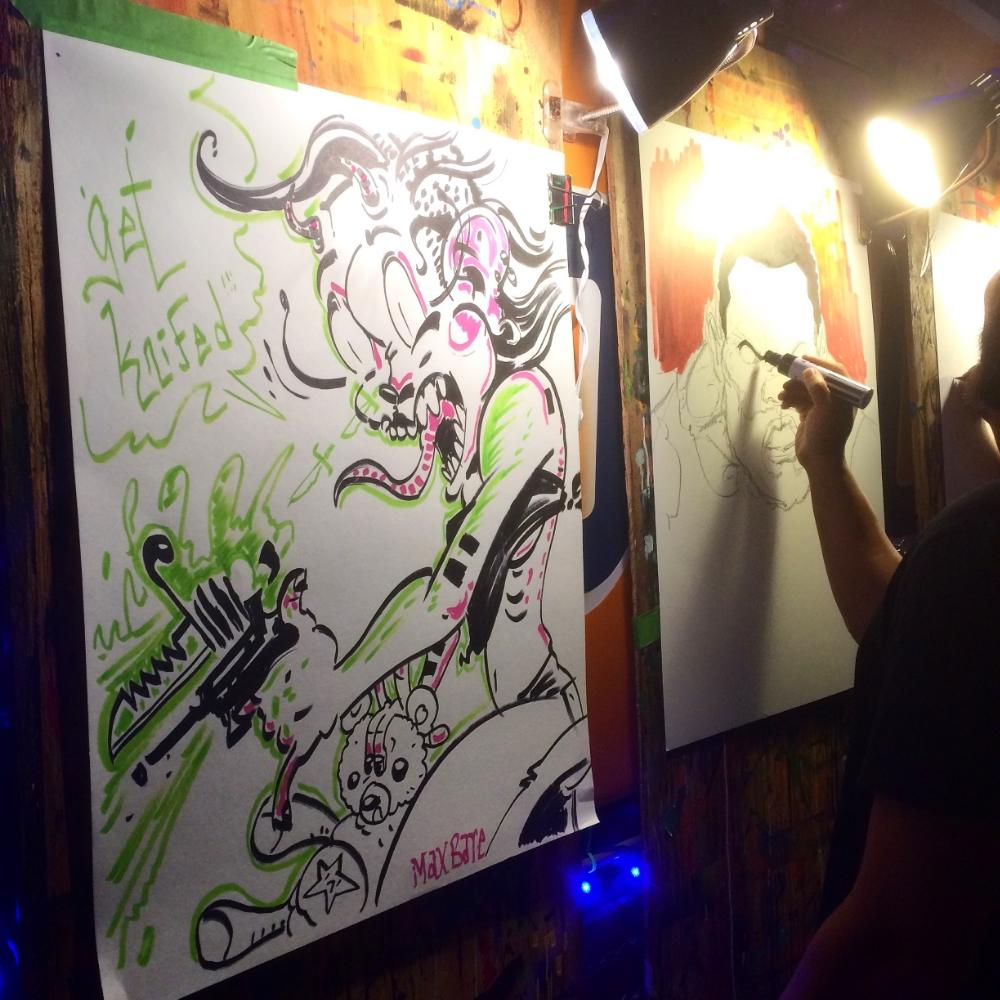 Live art at HayMarket Whiskey Bar. Hosted by Justin Stewart.