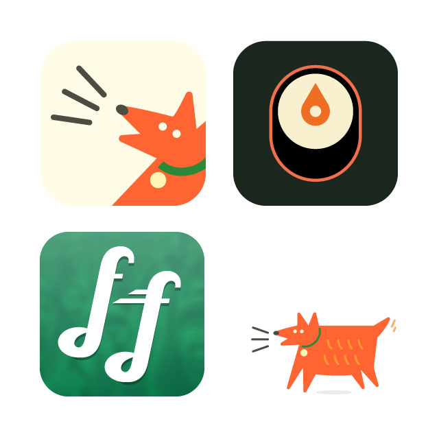 a selection of App Icons from quick design consultations with student teams training at Mobile Makers. FindMyDog, SushiSnob, FanFueled.