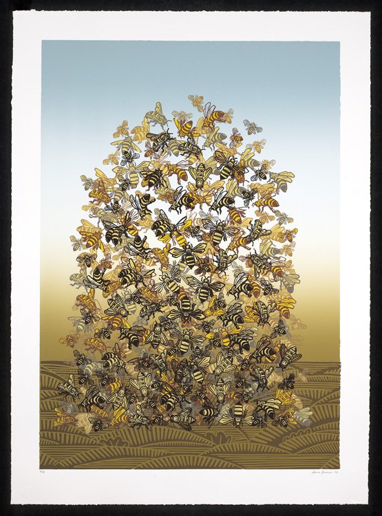Bee Pile by Sonia Romero, Serigraph, 2010