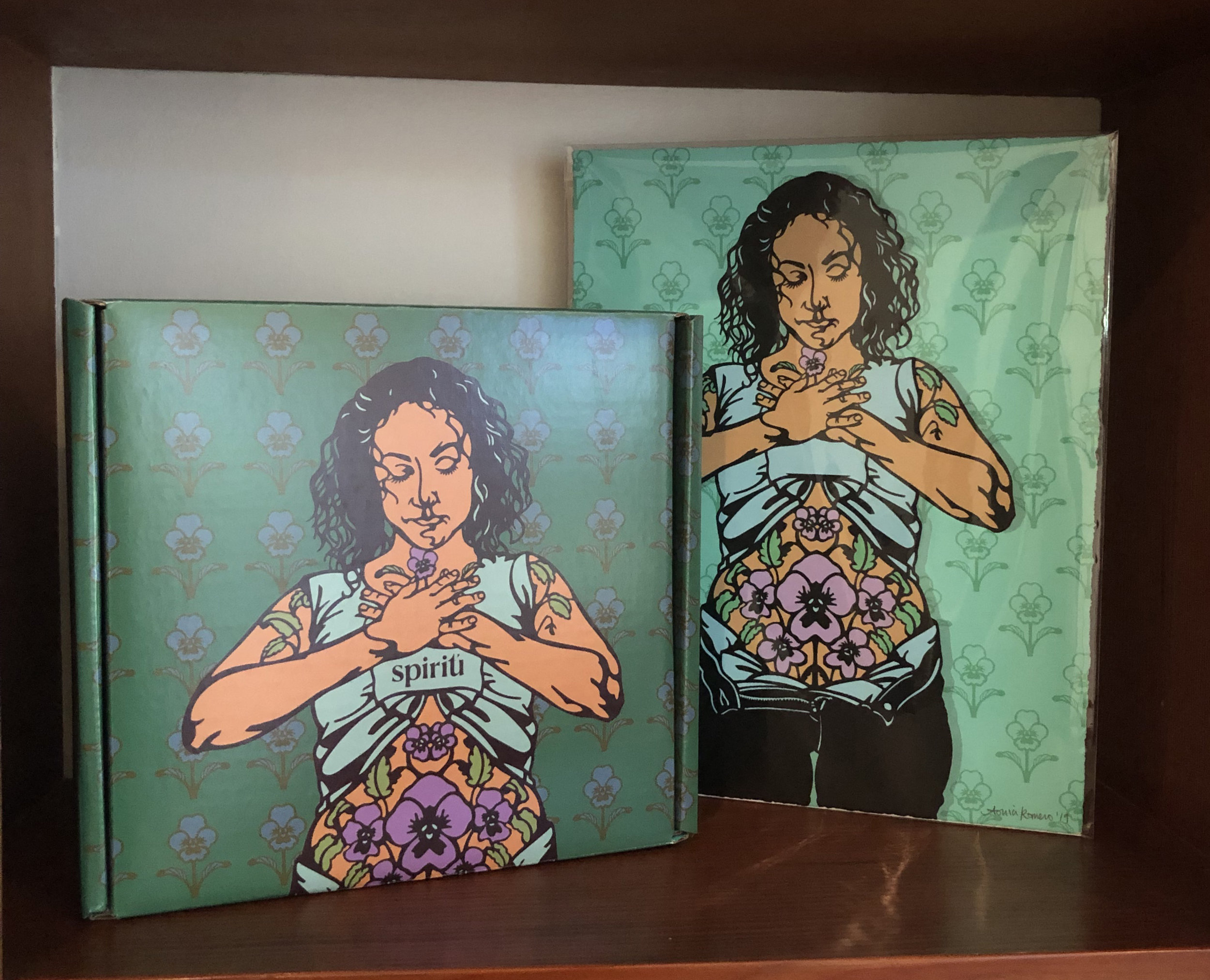 Left: Spring Spiritu box design, Right: Limited Edition Silkscreen by Sonia Romero