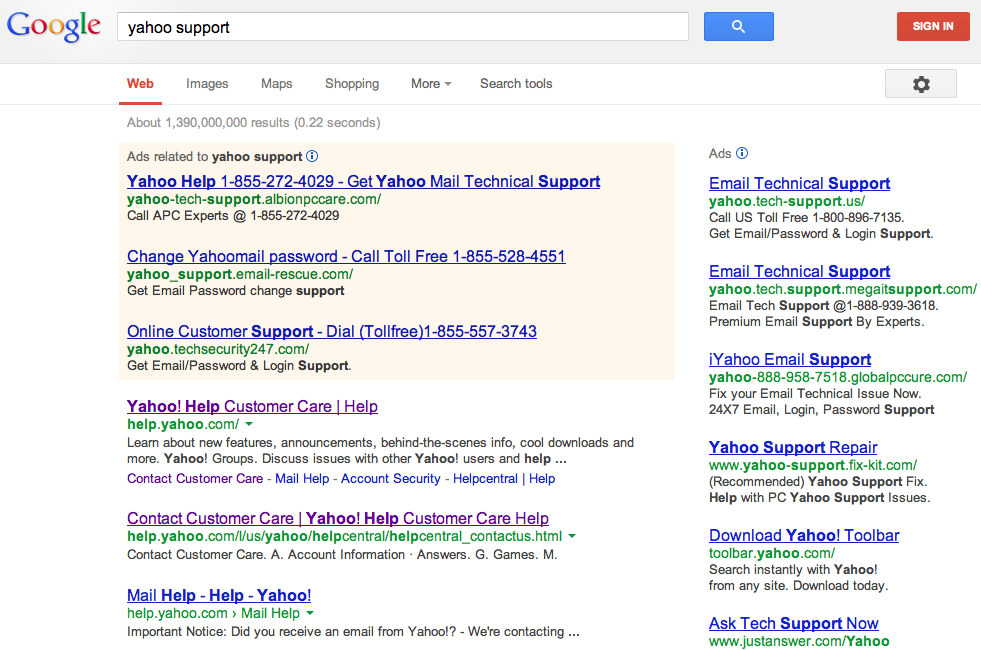 Google Search results for Yahoo Support