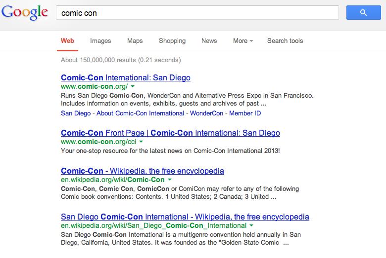 Comic Con Search Results