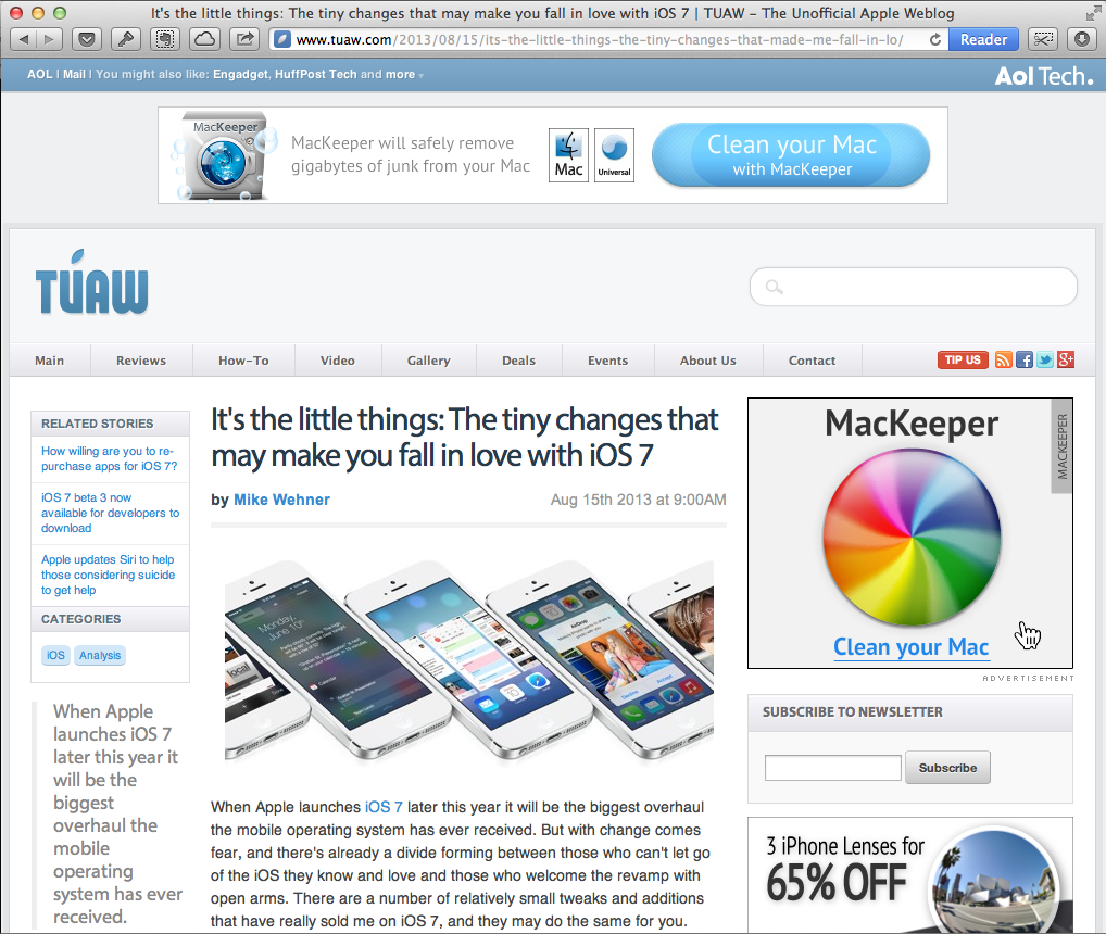Screenshot of the TUAW website with an article about iOS 7.