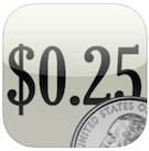 Visual Coin Calculator app icon. Rounded square with the number 0.25 in the center with an image of a quarter in the bottom right corner.