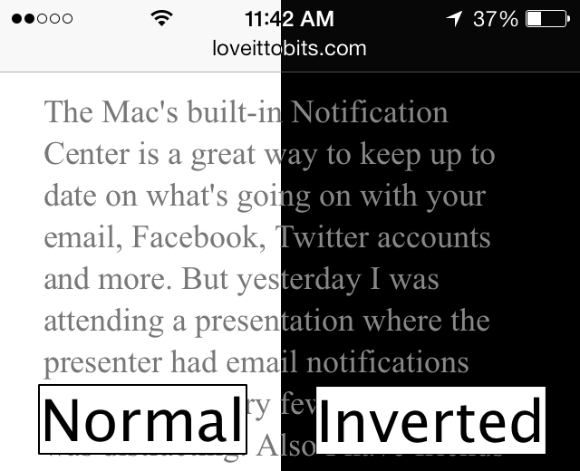 Example of normal vs. inverted colors on a webpage.