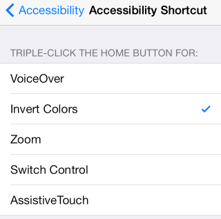 Accessibility menu with Invert Colors checked.