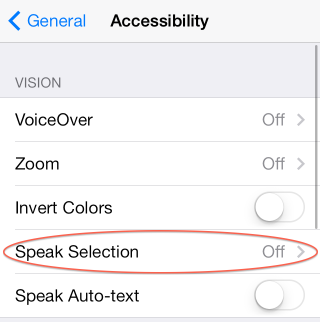 Accessibility Menu - Speak Selection Circled