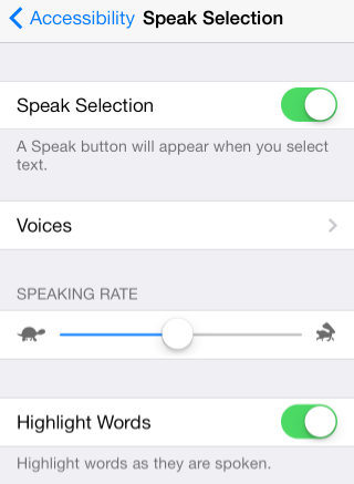 Speak Selection Menu - Speak Selection Turned On.