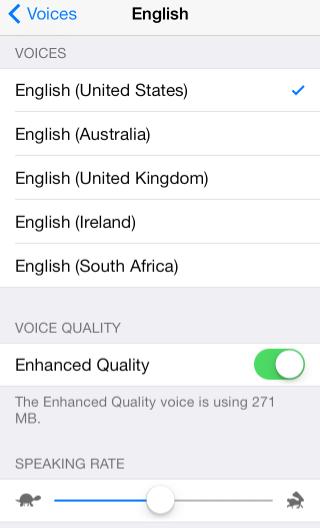 Speak Selection English Menu - Enhanced Quality Turned On.
