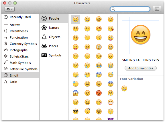 Screen shot of the Apple Character Palette. The emoji font is selected from a list.
