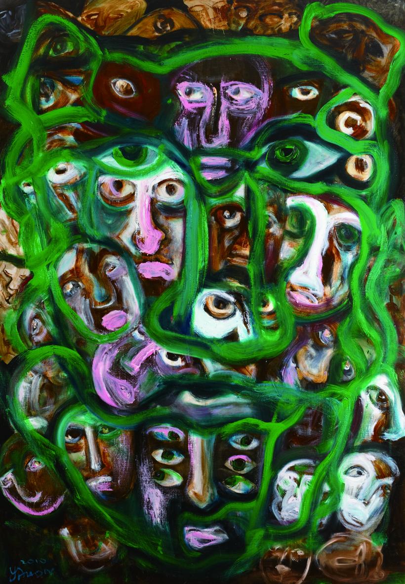 面對面 Face To Face 200 × 135cm 2011 acrylic and oil on can vas 壓克力 油彩 畫布.jpg