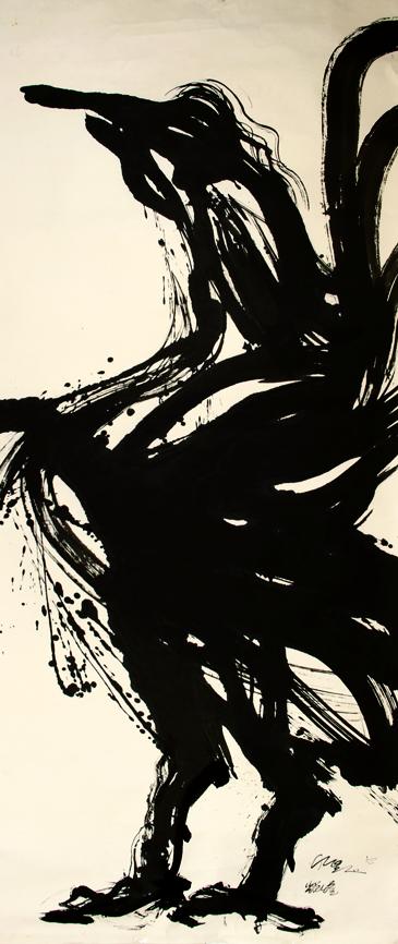 動物系列 - 春鳴 Animal Series - Spring Awakening 360x145cm 2005 水墨‧宣紙  Chinese ink on rice paper.jpg