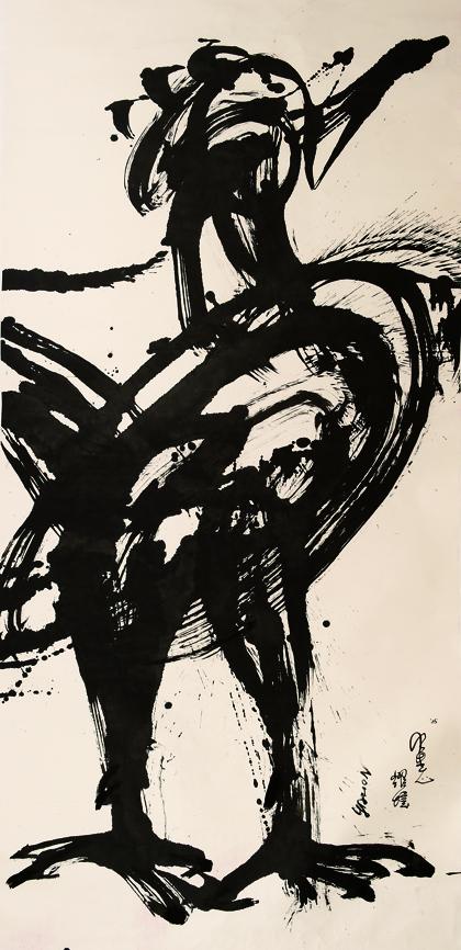 動物系列 - 鐵公雞 Animal Series - Rooster 360x145cm 2005 水墨‧宣紙  Chinese ink on rice paper.jpg