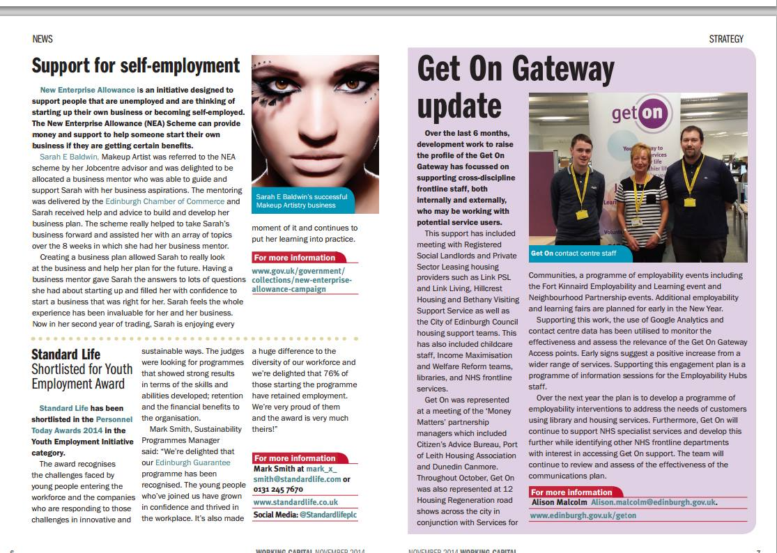 Feature in working capital magazine Scotland (November 2014) on my freelance business.