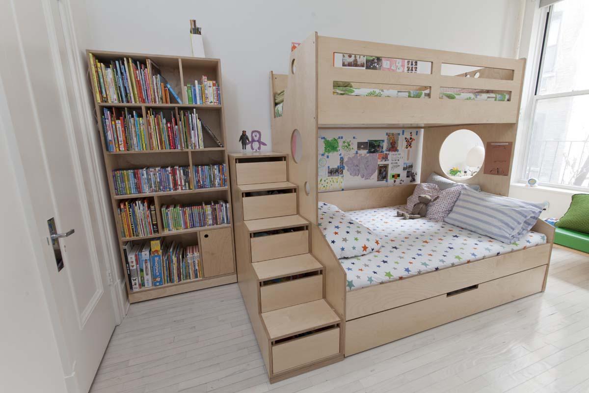 casa kids bunk bed and bookshelf