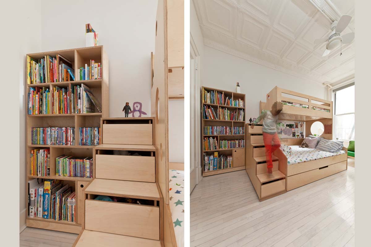 casa kids bookshelf and storage stairs