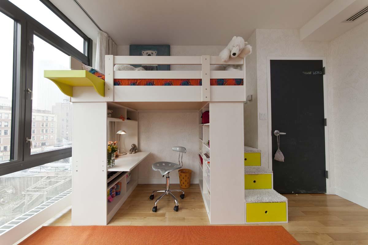 casa kids loft bed with storage stairs