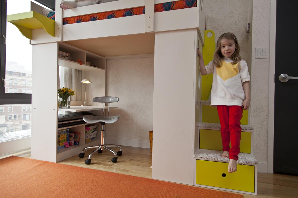 casa kids loft bed over desk