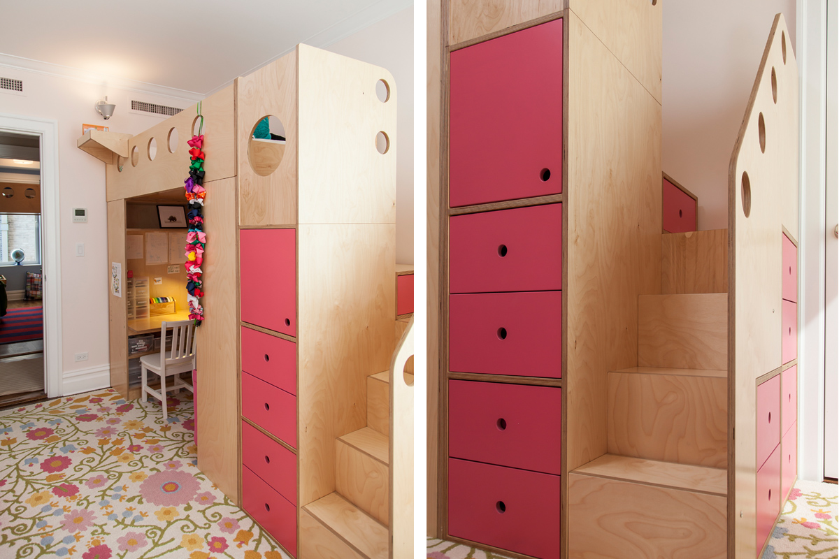 casa kids loft bed with stairs and pink accents