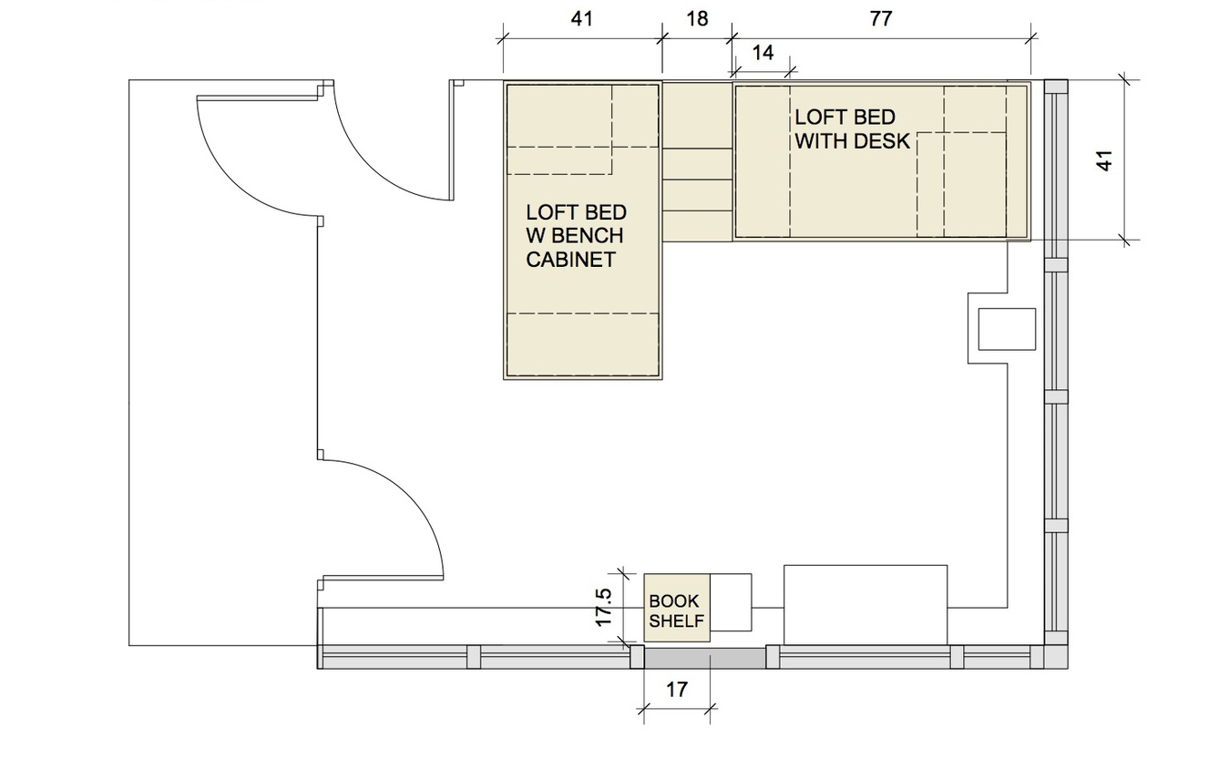 The floor plan shows both beds sharing the stairs.