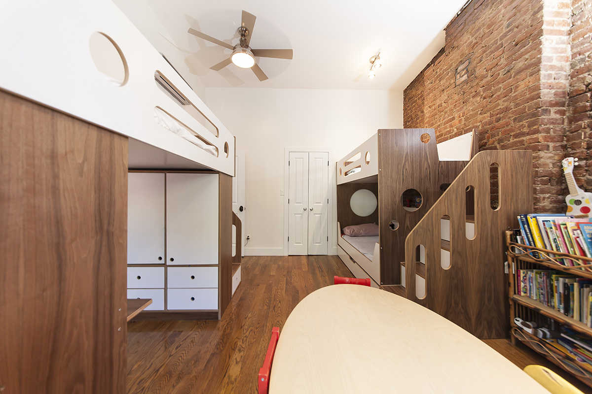 walnut and white childrens room