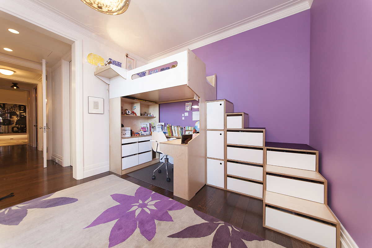 Loft bed with storage cabinets and drawers. U shaped desk with wire management system