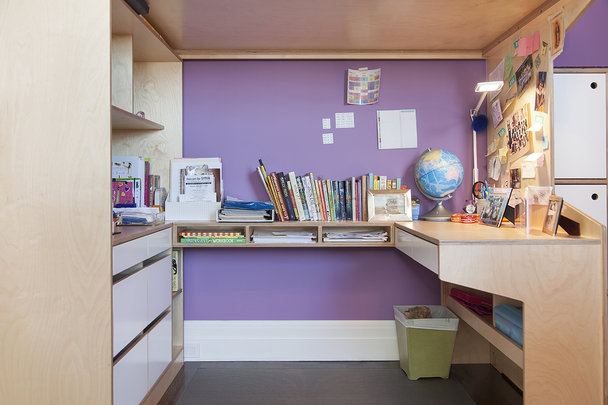 u shaped desk underneath loft bed. open and closed storage with plenty of space on top
