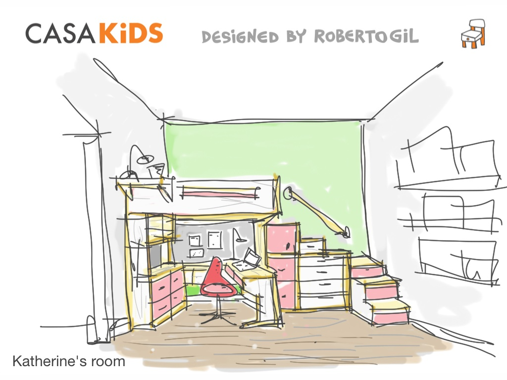 a sketch of a loft bed with plenty of storage. Desk underneath bed