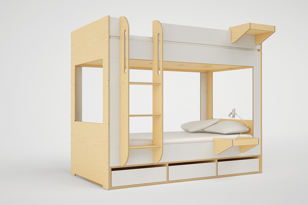 Modern kids bunk beds with stairs, storage or desk — Casa Kids