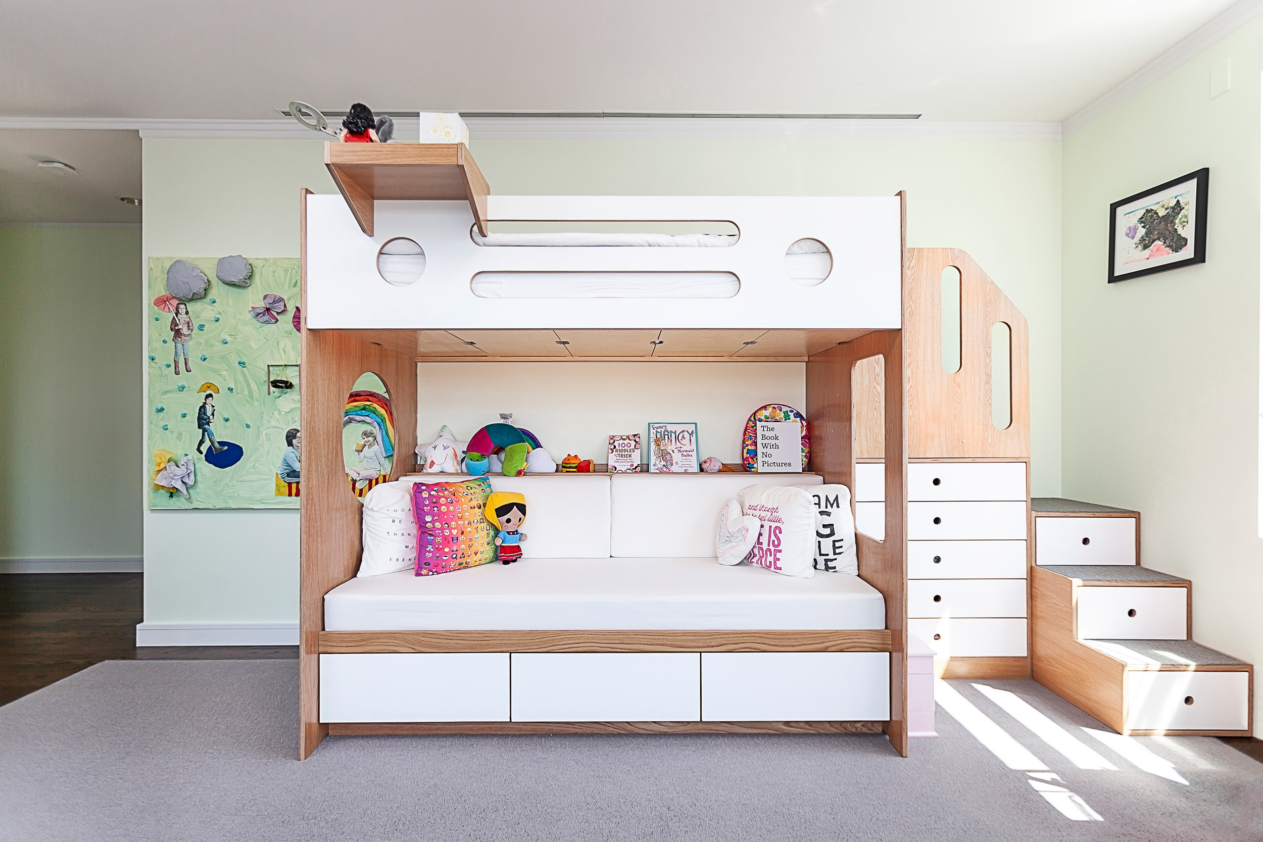 Oak and White Marino Bunk over Daybed with Stairs