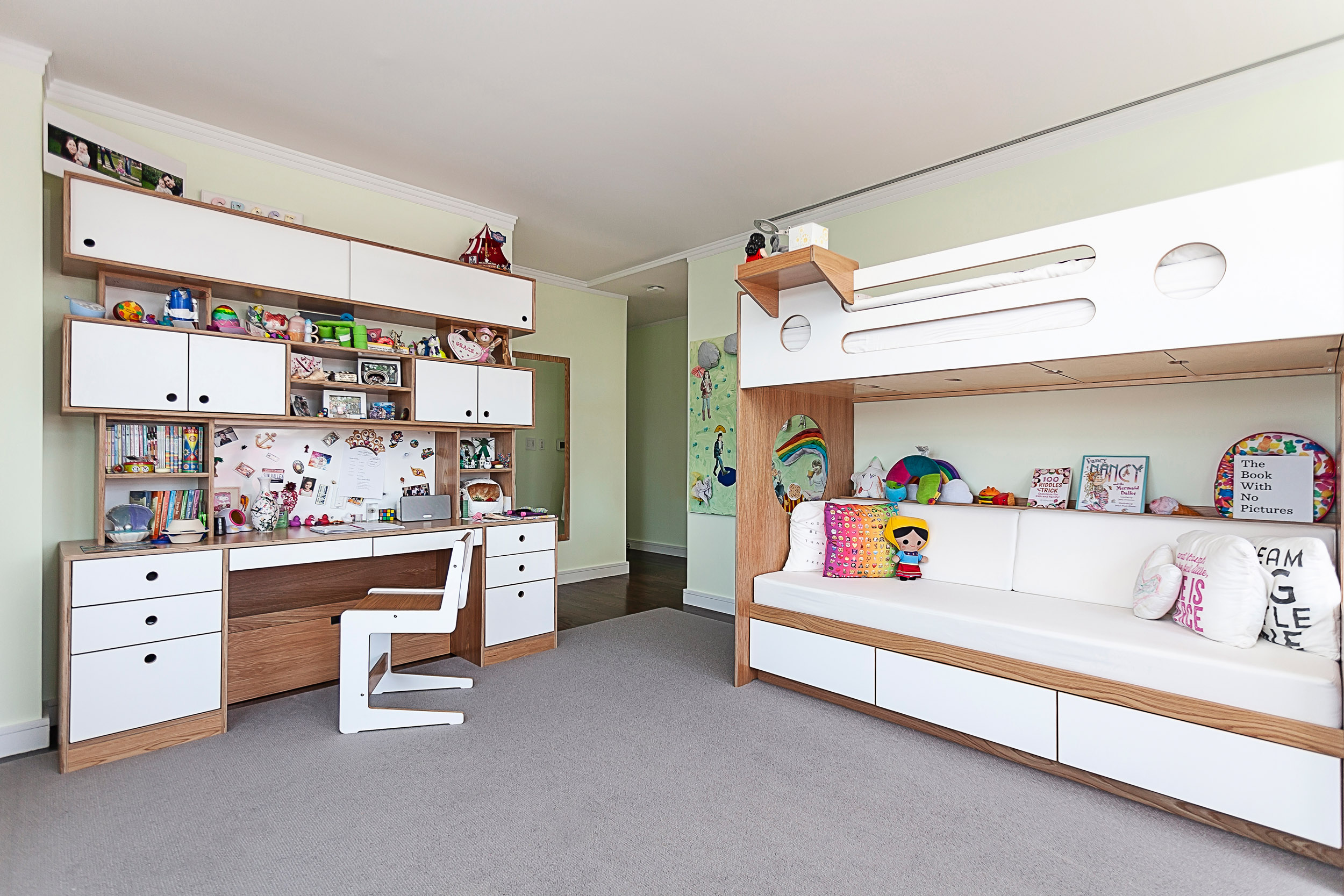 Custom child's bedroom with desk and bunk bed