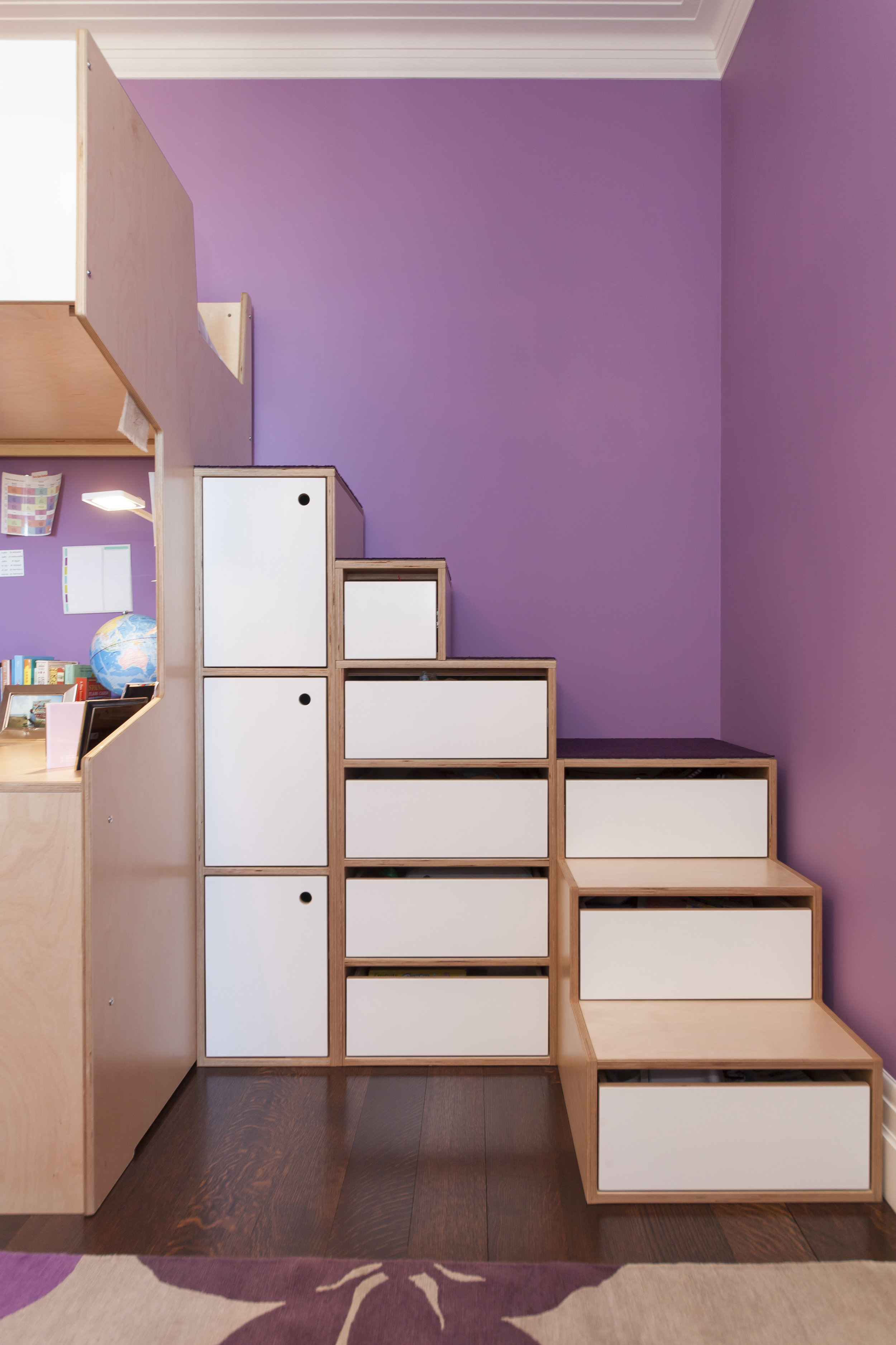 Cabinets also can be added to stairs