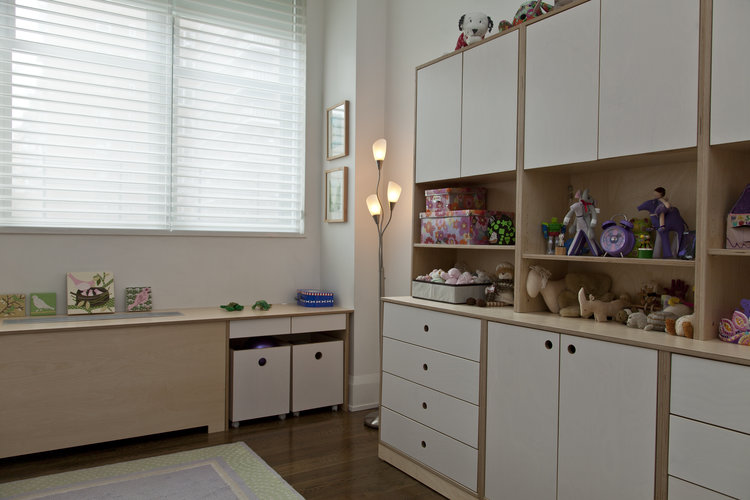 Combine open shelving with drawers and cabinets