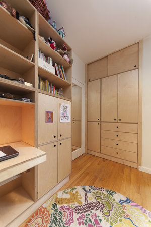 Modular Storage to the left and a built in armoire to the right