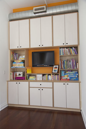 Incorporate a media cabinet into a small nook