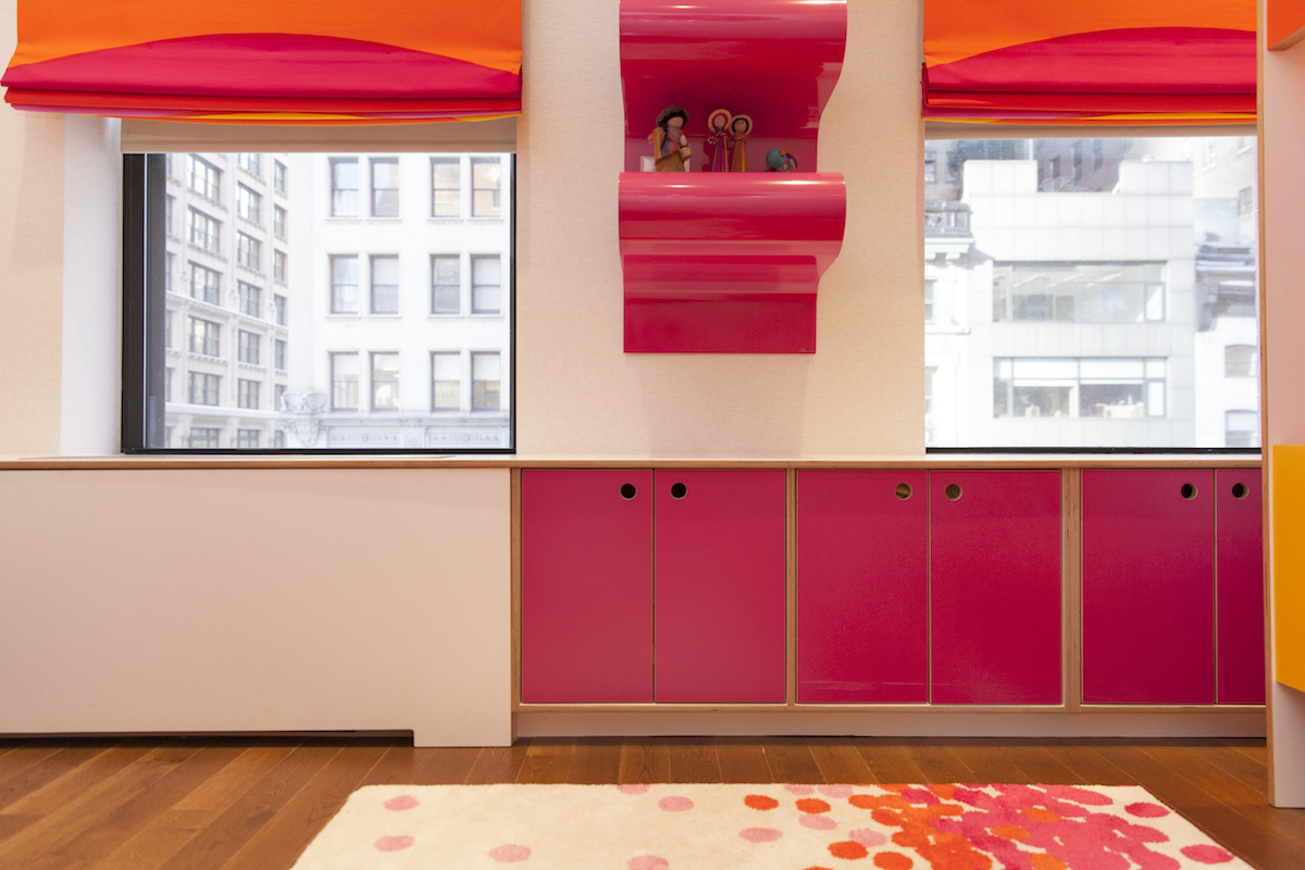 An added radiator cover polishes the overall look of the room