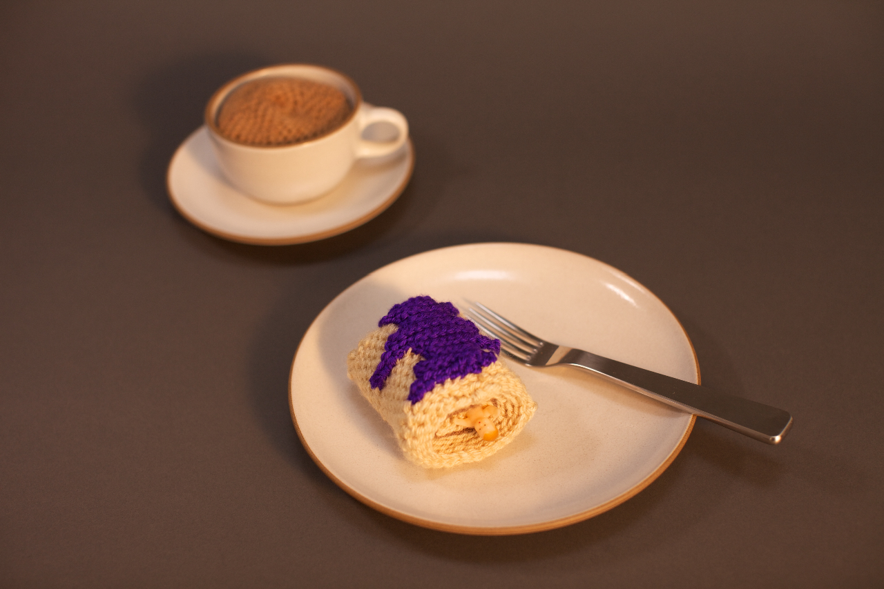 Crocheted Piece of King Cake and Cafe au Lait by Clare Crespo