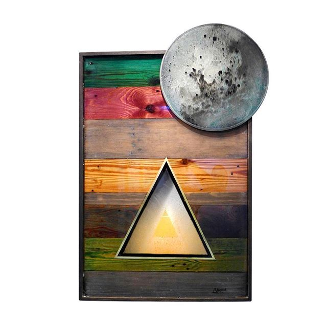 A favorite of mine from the vault, that now hangs with some of my favorite humans.  A Lucid Simplicity. Stained cedar panels, with resin window, matte details and layered resin moon. #maynerdart #art #resinart #resinartist #painting #campfire #woodwork #moonart #seattleartist #conceptualart