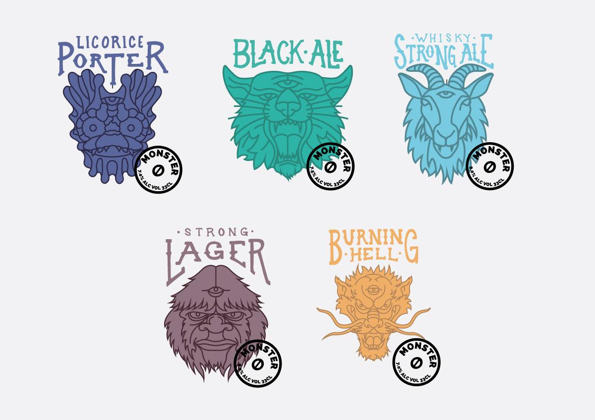 Beer label illustrations for Orbaek Beer