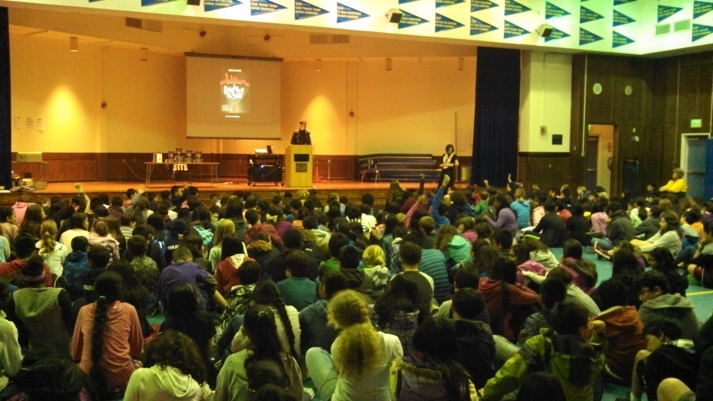 Rohan talking to 300 students at Bowditch Middle School, CA.