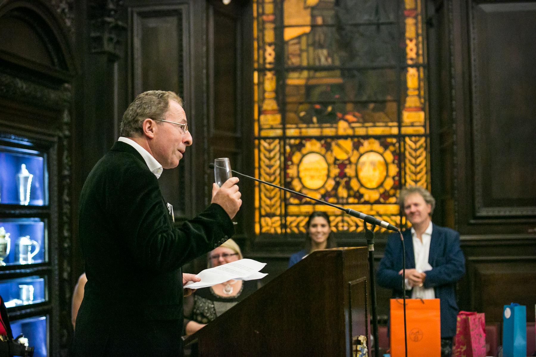 Peter James, proposing a toast