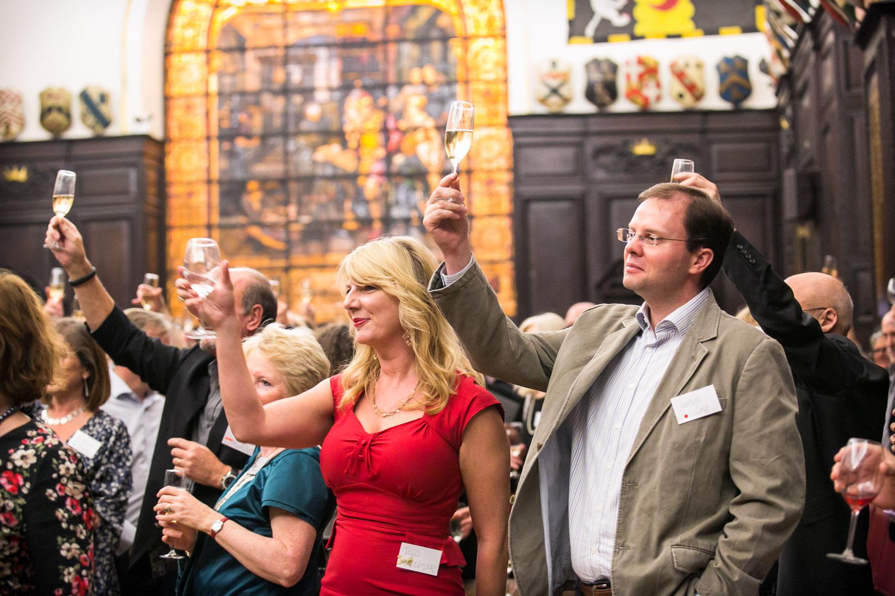 Tess Stimson, James Long, toasting