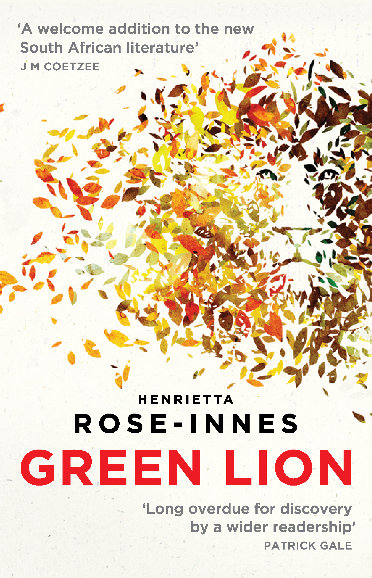 GREEN LION  Literary Fiction, 264 pages Umuzi/Random House SA - May 2015 Aardvark Bureau UK August 2017  Con, adrift and emotionally numb, is drawn into a fascinating but disturbing new world when Mark, an old school friend, is mauled by a rare lion at the breeding park where he worked. Con steps into the role, becoming obsessed with the lioness, the only remaining Cape black-maned lion known to exist. A book about extinctions, and loss, and the impossibility of bringing things back from oblivion; and also about the mythic importance of animals in human lives.