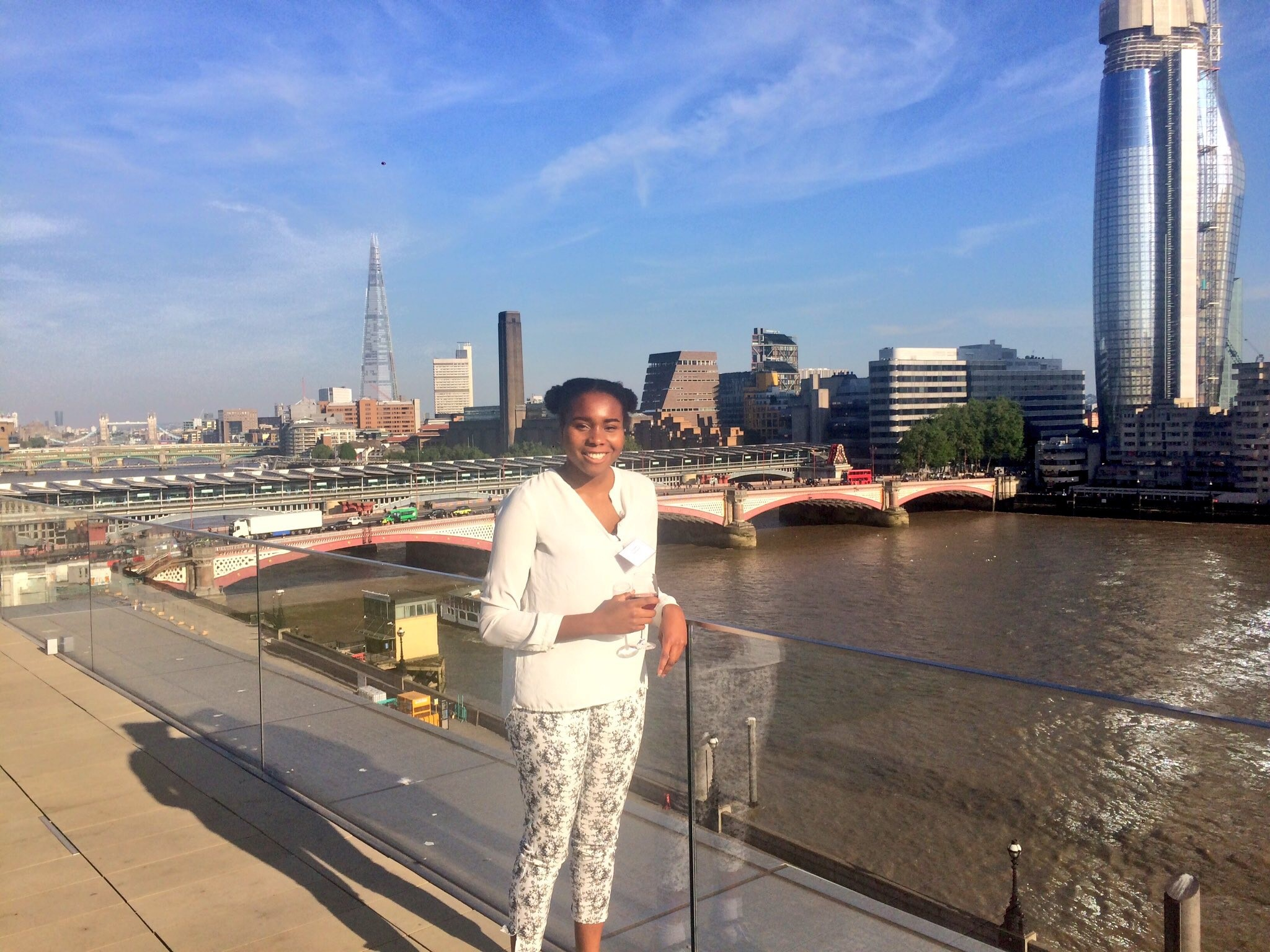 Ada on the Hachette rooftop, at the Kim Scott Walwyn Awards
