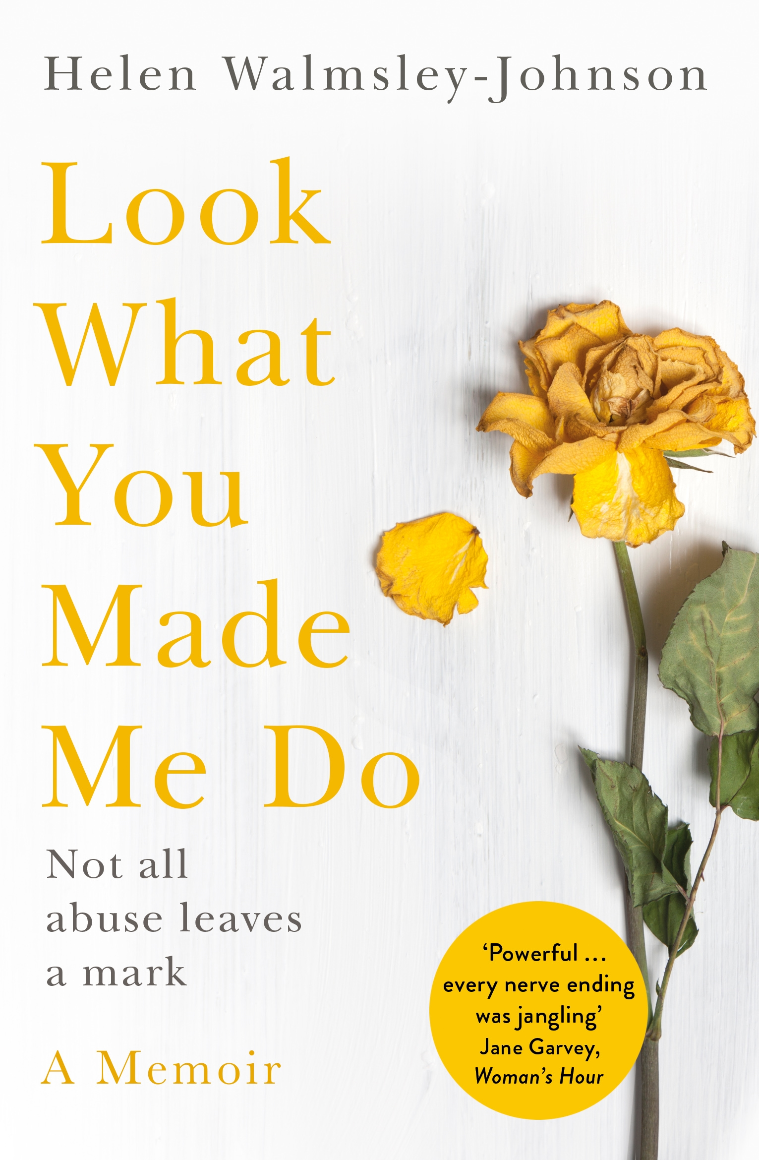 LOOK WHAT YOU MADE ME DO  Memoir, 336 pages Macmillan, March 2018  Helen's first husband controlled her life, from the people she saw to what was in her bank account. He alienated her from friends and family and even from their three daughters. Eventually, he threw her out and she painfully began to rebuild her life.  Then, divorced and in her early forties, she met Franc. Kind, charming, considerate Franc. For ten years she would be in his thrall, even when he too was telling her what to wear, what to eat, even what to think.   Look What You Made Me Do  is her candid and utterly gripping memoir of how she was trapped by a smiling abuser, not once but twice. It is a vital guide to recognizing, understanding and surviving this sinister form of abuse and its often terrible legacy. It is also an inspirational account of how one woman found the courage to walk away.